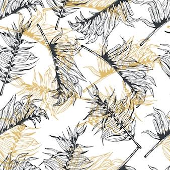 Folhas de palmeira ouro linha mão desenhada sem costura padrão