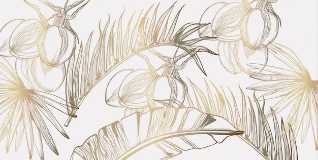 Folhas de palmeira padrão arte linha tropical dourada. decorações exóticas de verão cartaz