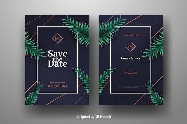 Folhas de palmeira realista modelo de convite de casamento