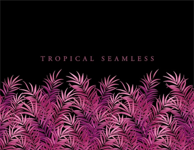 Folhas de palmeira rosa tropical, selva deixa fundo de padrão floral vetor sem emenda