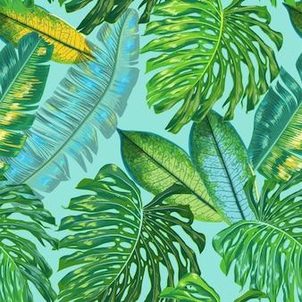 Folhas de palmeira sem costura padrão floral