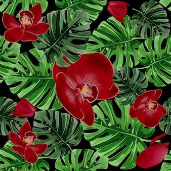 Folhas de palmeira tropicais e padrão de orquídeas vermelhas.