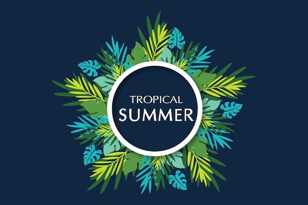 Folhas de palmeira tropical banner fundo de verão