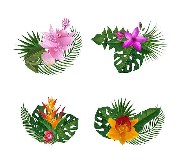 Folhas de palmeira tropical e bouquets de elementos de flores exóticas