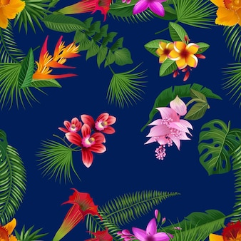 Folhas de palmeira tropical e elementos de flores exóticas com fundo azul escuro