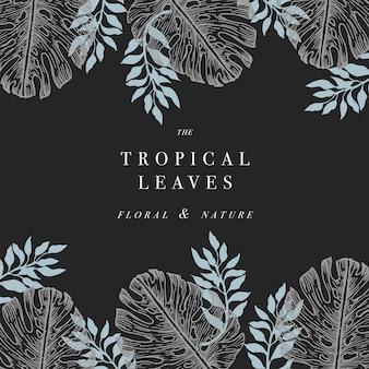 Folhas de palmeira tropical. fundo de design de selva.