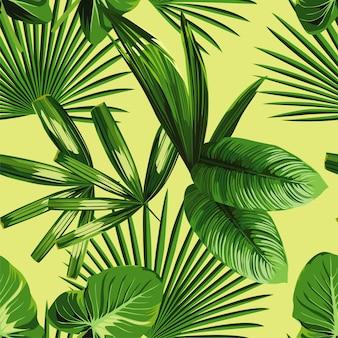 Folhas de palmeira tropical fundo sem emenda