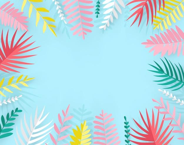 Folhas de palmeira tropical na moda verão em estilo de corte de papel.