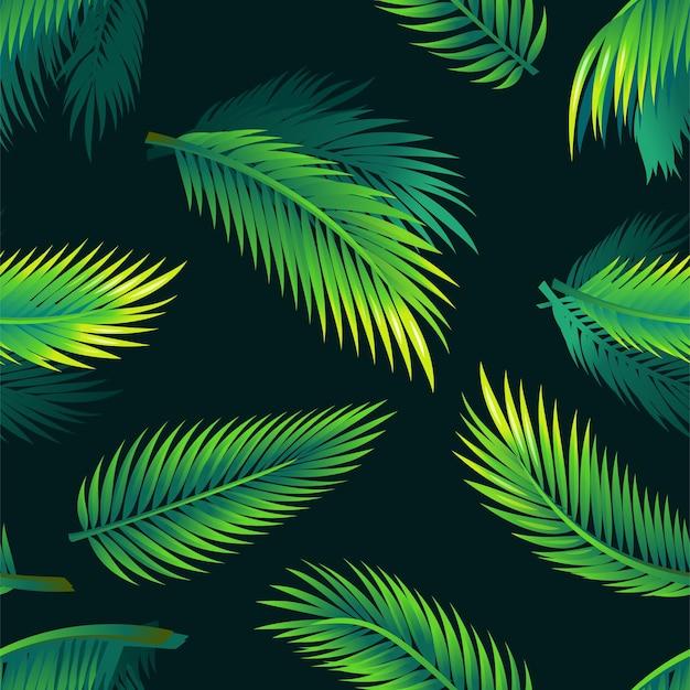 Folhas de palmeira tropical padrão de design de material moderno sem costura em fundo preto ramos exóticos