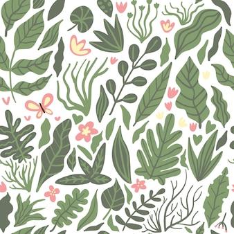 Folhas de palmeira tropical selva sem costura padrão floral de fundo com flores e borboletas em branco