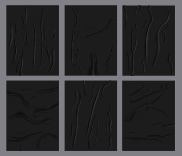 Folhas de papel amassadas. papel úmido colado realista, pôster de papel adesivo preto com textura enrugada