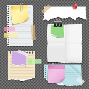 Folhas de papel com conjunto de artigos de papelaria