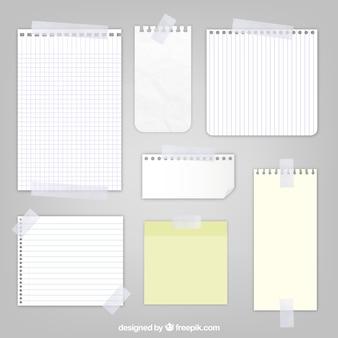 Folhas de papel com fita adesiva