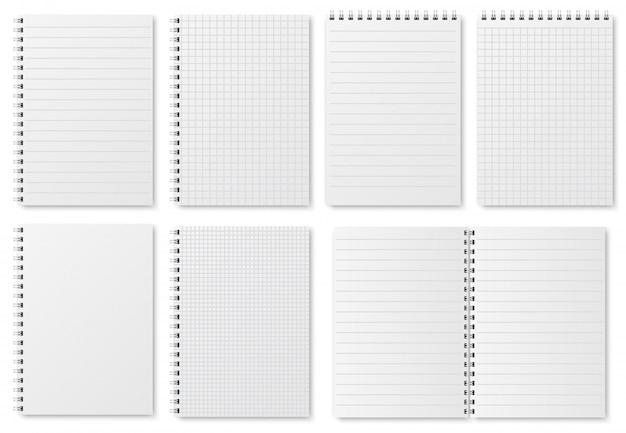 Folhas de papel de caderno. páginas em branco do caderno de desenho com variedade de linhas e pontos. blocos de notas isolados