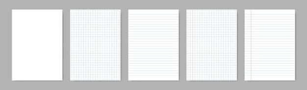 Folhas de papel em branco com linhas.