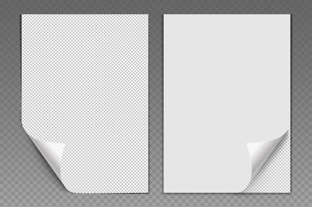 Folhas de papel em branco e brancas com canto dobrado páginas realistas de formulários de escritório ou escola não