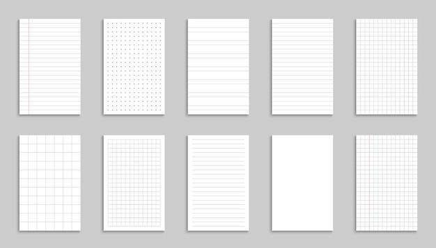 Folhas de papel em branco. folha de papel de vetor em linha e grade. desenho de linhas e caderno de página de grade. ilustração vetorial