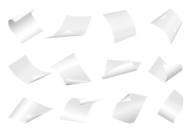 Folhas de papel em branco voando com canto curvo.