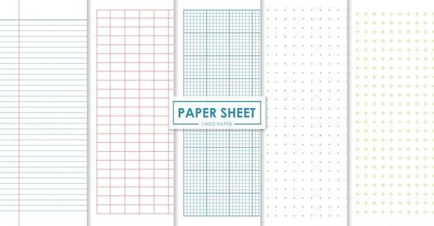 Folhas de papel forrado e coleção de pontos