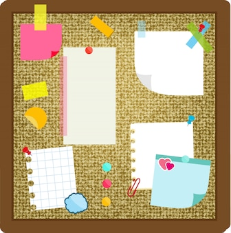 Folhas de papel, notas autocolantes, adesivos pendurados na placa de cortiça.