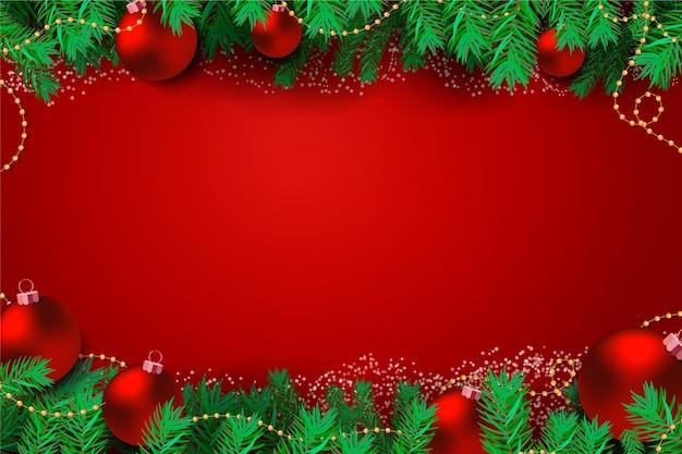 Folhas de pinheiro e fundo elegante de bolas vermelhas de natal