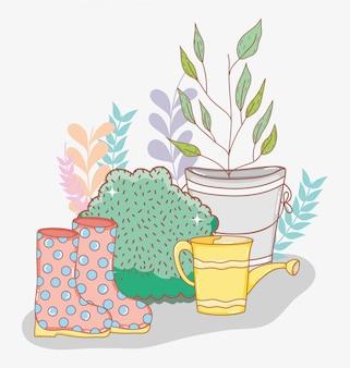 Folhas de plantas dentro podem com arbustos e botas