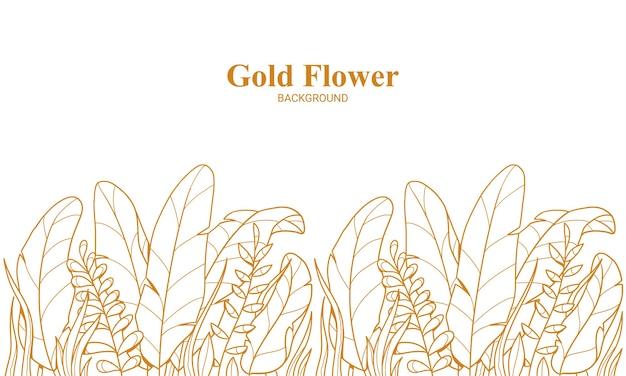 Folhas de plantas florais douradas elegantes e fundo de ilustração desenhada à mão