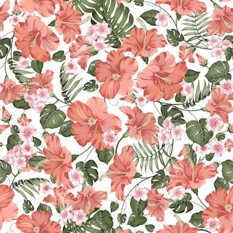 Folhas de plumeria tropical, hibiskus e palm