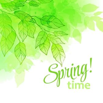 Folhas de primavera em aquarela. ilustração