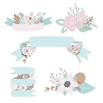 Folhas de rabiscos florais