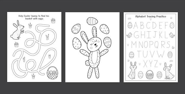 Folhas de trabalho de páscoa com coelhos fofos coleção de páginas de atividades de primavera em preto e branco para crianças página para colorir com coelho e ovos rastreamento do alfabeto de páscoa