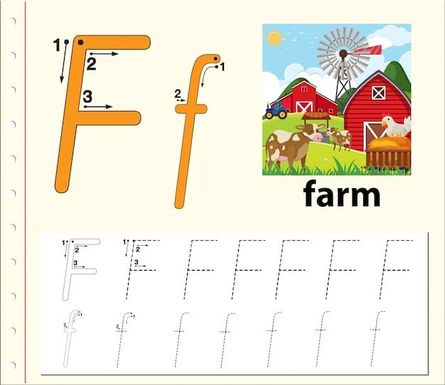 Folhas de trabalho do alfabeto de traçado da letra f