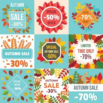 Folhas de venda de outono. conjunto de conceito de banner