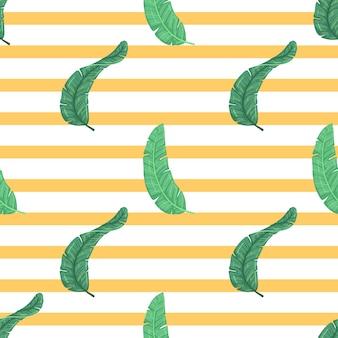 Folhas de verão bonito no padrão sem emenda com fundo amarelo