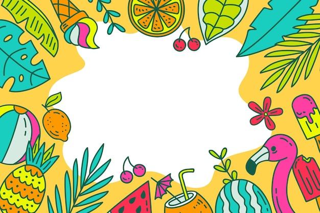 Folhas de verão e frutas mão desenhado fundo