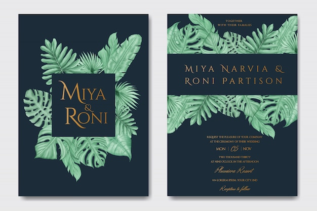 Folhas de verão tropical elegante para modelo de cartão de convite de casamento