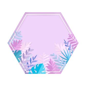 Folhas de verão tropical na moda em estilo de corte de papel.