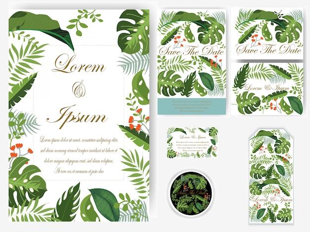 Folhas de verdura cartão de casamento e tag