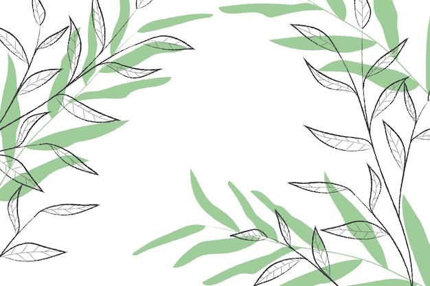 Folhas desenhadas à mão em preto e verde