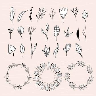 Folhas doodle coleção