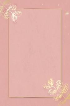 Folhas douradas decoradas em vetor de fundo de anúncios sociais com moldura dourada