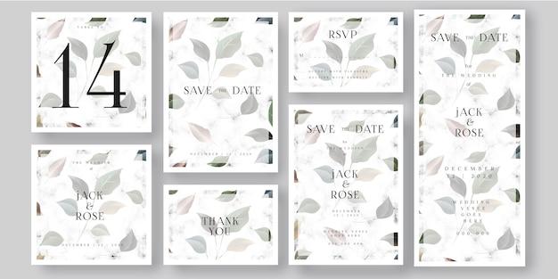 Folhas e cartão de mármore branco do convite do casamen