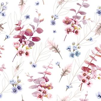 Folhas e flor de cera sem costura padrão, estilo aquarela.