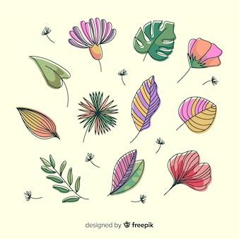 Folhas e flores abstratas desenhadas à mão