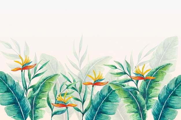 Folhas e flores de papel de parede tropical