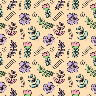 Folhas e flores doodle padrão de fundo sem emenda