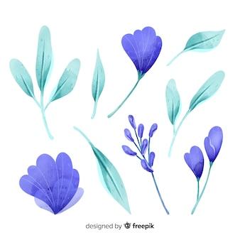 Folhas e flores em aquarela azuis