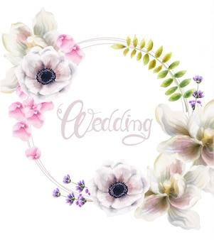 Folhas e flores em aquarela