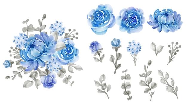 Folhas e flores isoladas em azul floral lindo