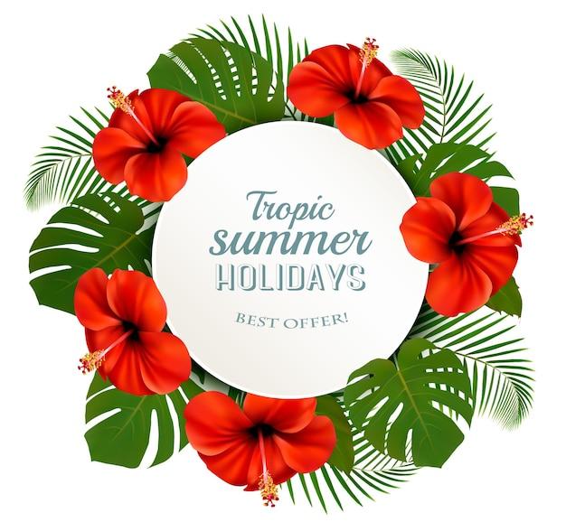 Folhas e flores tropicais com um banner de férias de verão. vetor.
